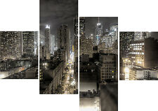 New York City Lit Up Black White Grey 4 Panel Set Canvas Picture Wall Art Prints