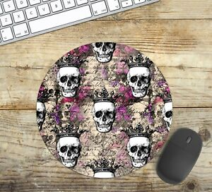 Round Mouse Pad with Skulls Easy Glide Non Slip Neoprene