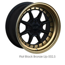 XXR WHEELS 002.5 15X8 0 4X114.3 4X100 FLAT BLACK / BRONZE LIP SINGLE 1 WHEEL JDM