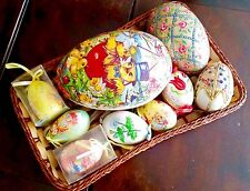 Basket of 10 Antique German Handmade & Decorated Easter Eggs & Paper Mache Eggs