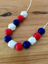 Teething Necklace Nursery Sensory Baby Showers Sillicone Beads Red Blue White