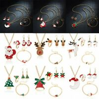 Christmas Santa Claus Tree Necklace Earrings Bracelet Ring Set Gifts Jewellery