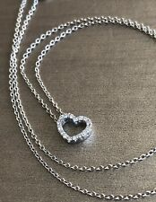18ct White Gold Diamond Necklace 0.15ct Heart Pendant & Chain