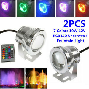 2PCS 10W Underwater RGB LED Light Bulb Fountain Pool Pond Spotlight + IR Remote