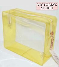 NWT Victoria's Secret Yellow Clear Make Up Cosmetic Bag Travel Pouch Organizer