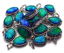 New !! 10 PCs. Lot AUSTRALIAN OPALS Gemstone Silver Plated Necklace Pendant