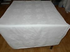 107X62 Vtg Antique White IRISH LINEN DOUBLE DAMASK Tablecloth