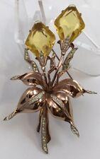 VINTAGE GORGEOUS HUGE CORO CRAFT STERLING RHINESTONE GLASS FLOWER BROOCH - PIN