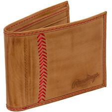 Rawlings Men's Genuine Leather Baseball Stitch Flap Tab Bifold Wallet