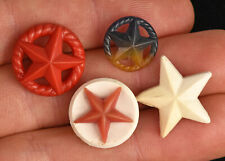 """Four Vintage Plastic Realistic Sewing Buttons Stars 3/4"""" to 1/2"""""""