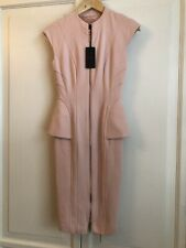 NEW £149 Ted Baker Pink Peplum Bodycon Siona Dress 0 UK 6 8 XS Rose Gold Zip