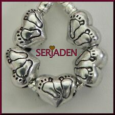 5 Cute Footprints Heart Spacer Charms European Style 10 x 12 mm & 5 mm hole S181