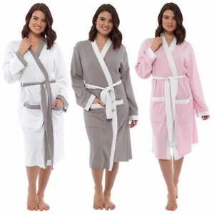 Ladies 100%  Cotton Foxbury Contrast Trim Waffle Robe  S M L