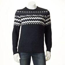 New Mens SONOMA Classic-Fit Fairisle Wool-Blend Crewneck Sweater Size L MSRP $65