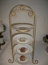 """4 LIMOGES 1855 a L MARINO Arrosoir Watering Can Plates 7.5"""" & plate rack"""