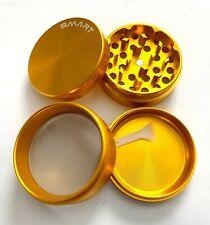 4 Piece Lrg Titanium Alloy Tobacco Herbal Smoke Grinder Spice Herb Crusher Gold