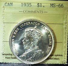 HIGH GRADE 66  - ICCS ,1935  Canada Silver Dollar