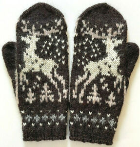 M L Hand Knitted Hand Knit Fair Isle Men's Gloves Mittens Cashmere Alpaca Merino