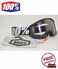 100% PERCENT BRAND STRATA GOGGLES MX ATV MOTOCROSS MOTORCYCLE OUTLAW BLACK CLEAR