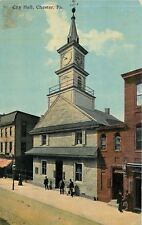 Chester Pennsylvania~Men at City Hall~Clock Tower~Shops~1910 Postcard