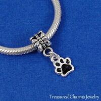 Silver and Black PAW PRINT Cat Dog Pet EUROPEAN Dangle Bead CHARM
