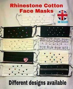Jewelled Rhinestone Face Mask.100% Cotton Double layered face masks.Washable.UK