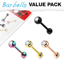 4 Pc Pack Gold IP 316L Surgical Steel CZ Barbell Tongue Nipple Ring Piercing 14g