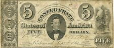 1861 $5 CIVIL WAR CONFEDERATE CURRENCY ~ MEMMINGER PORTRAIT ~ T-34 ~ SCARCE TYPE