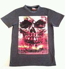 Mens No Fear T-Shirt_Skull Print_Charcoal_Size XL_clothing top-biker clothes