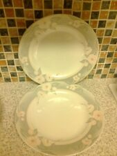 Churchill Grey and Pink Floral 24.5cm Dinner Plates X 2