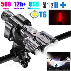 Rechargeable LED Mountain Bike Lights 18650 Bicycle Torch Front Rear Lamp Set