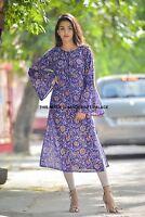 Indiano Bollywood Kurta Designer Donna Etnico Top Vestito Tunica Stampa Floreale