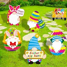 luck sea Easter Decorations Gnomes Yard Signs Stakes - Bunny Eggs Hunt.