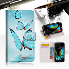 Cyan Butterfly Wallet Case Cover For ZTE AXON mini --A019