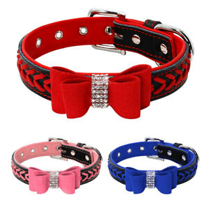 Luxury Braided Leather Dog Collars with Bow Tie Rhinestones Soft Padded Pink Red