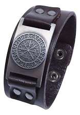 Vegvisir Icelandic Magical Stave Viking Compass Rune Leather Cuff Bracelet
