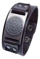 Vegvisir Icelandic Magical Stave Viking Compass Rune Leather Cuff Bracelet