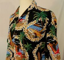 Hilo Hattie's Hawaiian Original Shirt Mens L Button Up Vintage Surf Boards Cars