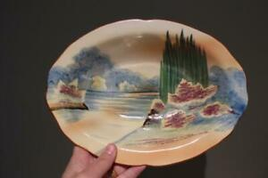Vintage Art Deco Serving Bowl - Hand painted - Japan - Tall Trees - Reas Cond