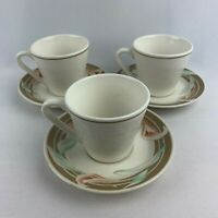 Set of 3 Syracuse China Restaurant Ware Cups & Saucers  - Calla Lilly