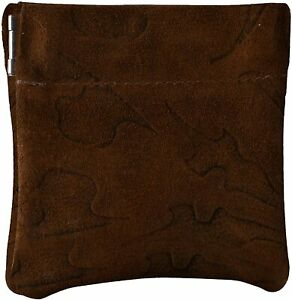 Leather Squeeze Coin Pouch Coin Purse Change Holder For Mens/Womens