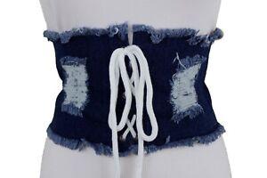 Women Day Casual Light Blue Denim Wide Corset Fabric Belt Hip High Waist Size S