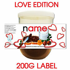 PERSONALISED VALENTINES NUTELLA LABEL HEART DESIGN CUSTOMISABLE GIFT HIM OR HER