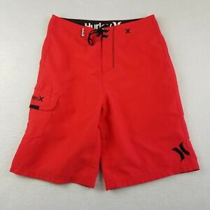 "Hurley Swim Board Shorts Size 28 10"" Ins Red Drawstring Logo Trunks Mens Adult"