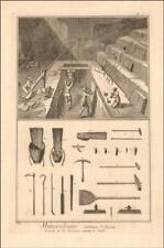 QUARRY, STONE CUTTING TOOLS, Diderot D'Alemberts Encyclopedia, engraving 1765