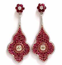 GIA Certified 35.27ct Natural Ruby Diamonds Dangle earrings 18kt Posh Priemeir