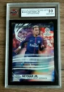 Topps Chrome UEFA RARE Neymar Jr. Lightning Strike 10 GEM MINT 🔥📈