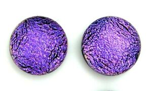 Pair (2 cabs):9mm-9.5mm round flat back no hole Dichroic Glass Cabochons RELEI