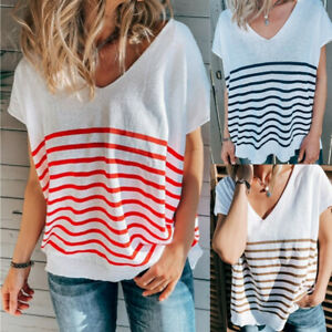 Womens Casual Loose Striped Tops Shirts Tee V-Neck Baggy Short Sleeve Blouse UK