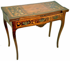 1820's Rare Italian Inlaid Marquetry Rosewood Tulipwood Original Game Table
